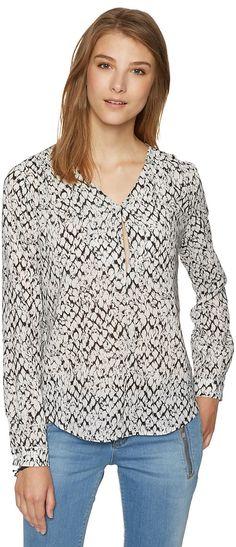 Bluse mit Reptilienprint für Frauen (gemustert, langärmlig mit V-Ausschnit) aus Georgette, mit Schlitz im Dekoltee, dieser Style ist exklusiv im E-Shop erhältlich. Material: 100 % Polyester...