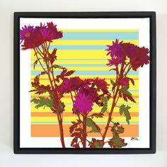 """Overflow series: """"Wild Flowers"""" art. 24 x 24 inch, digital art & gloss and matte gel on stretched canvas. 26.5 x 26.5 inch, float frame - black flat. ---------------------------------------- #popart #popartist #digitalart #art #artist #contemporaryart #colorfield #abstractart #gloss #matte #art #canvas #jonsavagegallery"""