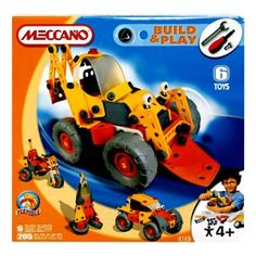 Meccano Excavator: The Meccano excavator is an awesome, rugged construction vehicle designed to be built by younger hands with flexible & strong plastic pieces instead of metal for safety with and fun colours! The screws & bolts are included as are the tools to build this mean machine! The instruction booklet is also included to teach you how to build all 6 different configurations of this cool vehicle, including a trike and a jeep!  Includes over 200 parts to put together!
