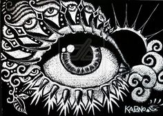 ACEO size on scratchboard paper. Just a random doodle drawn with an exacto knife. Haven't tried scratchboard yet? Give it a try, you can achieve the neatest effects! Try the scratchboard . Kratz Kunst, Scratchboard Art, Art And Craft Materials, Scratch Art, Hippie Art, Eye Art, Art Festival, Art Google, Art Lessons