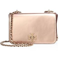Tory Burch Mercer Metallic Patent Leather Chain Shoulder Bag ($410) ❤ liked on Polyvore featuring bags, handbags, shoulder bags, clutches, apparel & accessories, rose gold, metallic purse, pink shoulder bag, pink patent leather handbag and pink handbags