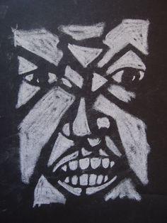 Angry face, krijt op zwart papier. Gemaakt door Marleen van de Kraats.