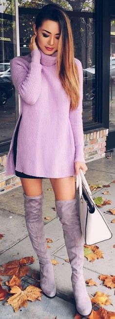 #fall #street #style | Pink Sweater + Overknees