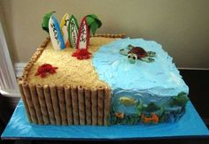 Maybe I could make this into a Teen Beach Movie cake for Emma. Looks simple. (fun birthday cakes for teens) Beach Themed Cakes, Beach Cakes, Cupcakes, Cupcake Cakes, Surfer Cake, Bolo Moana, Ocean Cakes, Movie Cakes, Birthday Cakes For Teens