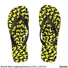 Shop Black & Yellow Lightning Pattern Flip Flops created by BOLO_DESIGNS. Shoe Designs, Custom Shoes, Black N Yellow, Designer Shoes, Lightning, Flip Flops, High Heels, Palette, Patterns