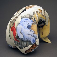Veiled Truth, coil built stoneware, hand painted with underglazes, low fire glazes, 10x5x8 in