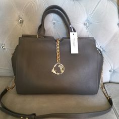 Exclusive Versace Gray Tote bag Beautiful grey leather bag with gold chain  and details large compartments 6dc59f9063