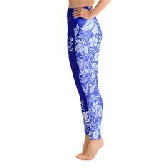 Ori Active Hawaiian Hibiscus Tattoo Long Leggings 7 Colors Available /& 2 Bands