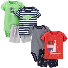 Carters® Boys' 3-piece Diaper Cover Set, 2-pack-Green and Blue/Whale $18.99