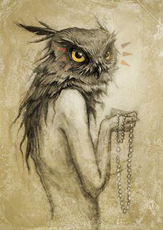 Sight (for Illustration Friday) by Miranda Meeks. #owl #sepia #vintage #illustration