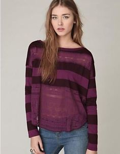Free People We the Free Long Sleeve Lacey Stripes Top