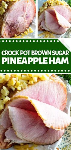 Delicious Crock Pot Brown Sugar Pineapple Ham made in your slow cooker for an easy main dish. Spiral ham that has a brown sugar glaze and pineapple. Best Crockpot Recipes, Easy Meat Recipes, Pork Recipes, Easy Meals, Dinner Recipes, Cooker Recipes, Dinner Ideas, Ham Dishes, Food Dishes