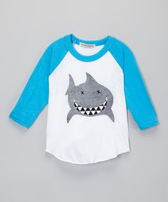 Look what I found on #zulily! Neon Blue Shark Raglan Tee - Infant, Toddler & Boys by Million Polkadots #zulilyfinds