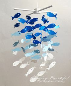 Fish Mobile/chandelier /CHOOSE YOUR 3 COLORS by EverydaysBeautiful