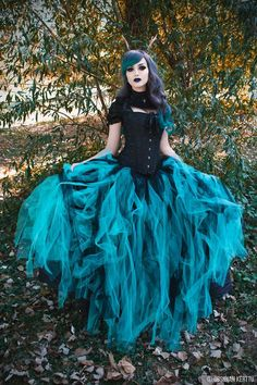 Black Teal Green Gothic Ball Gown Prom Dress / D-roseblooming.com
