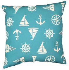 The Aqua Sail Away Pillow is n adorable pattern of anchors, sail boats, and boat wheels.