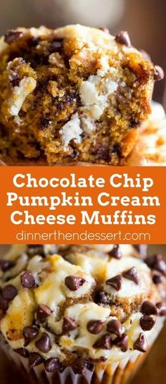 Chocolate Chip Pumpkin Cream Cheese Muffins are the perfect coffee shop or bakery style treat you'll love all year round full tangy, sweet and warm flavors. Pumpkin Cream Cheeses, Pumpkin Cream Cheese Cake Recipe, Chocolate Cream Cheese Cupcakes, Pumkin Pie Recipe, Pumpkin Cream Pie, Cream Cheese Coffee Cake, Pumkin Roll, Cheese Pumpkin, Pumpkin Puree