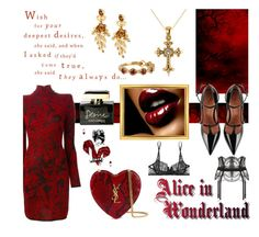 """Desperado - Your Queen Of Diamonds Is Your Queen Of Hearts"" by sharee64 ❤ liked on Polyvore featuring Oscar de la Renta, Balmain, RED Valentino, Allurez, Yves Saint Laurent, La Perla, Bony Levy and Dolce&Gabbana"