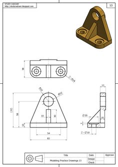 Creative Draw A Monster Ideas. Exacting Draw A Monster Ideas. Isometric Drawing Exercises, Autocad Isometric Drawing, Mechanical Engineering Design, Mechanical Design, 3d Drawing Techniques, Orthographic Drawing, Solidworks Tutorial, Interesting Drawings, Industrial Design Sketch