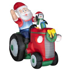 Christmas Airblown Inflatable Santa Penguin Tractor Gemmy Yard Decor Lights in Collectibles Christmas Yard Decorations, Outdoor Decorations, Christmas Inflatables, Santa Christmas, Christmas Ornaments, Christmas Stuff, Christmas Ideas, Christmas Crafts