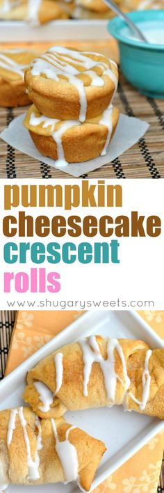 Fall is here and so are the Pumpkin recipes! These Pumpkin Cheesecake Crescent Rolls are the perfect breakfast on a chilly morning. Don't forget the cream cheese glaze! Creamy Cheesecake Recipe, Easy Cheesecake Recipes, Pumpkin Cheesecake, Sweets Recipes, Apple Recipes, Pumpkin Recipes, Fall Recipes, Diy Pumpkin, Cheesecake Bars