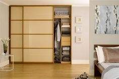 Cream Glass Sliding Wardrobe - walnut + glass - sliderobes.com - hallway