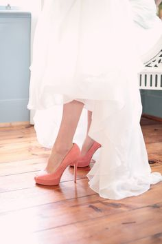 bride shoes, wedding dress, coral heels, Kristin Vining Photography, Charlotte Wedding Photographer