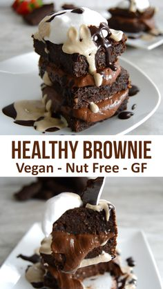 Healthy Chocolate Brownie - no dairy, no flour. no nuts, no gluten! Just seeds and chocolate in this recipe for a vegan sweet potato brownie. Easy to make and full of good stuff veganrecipe vegan healthy chocolate brownie Desserts Végétaliens, Vegan Dessert Recipes, Brownie Recipes, Baking Recipes, Nut Recipes, Vegan Recipes No Nuts, Fondant Recipes, Seitan Recipes, Vegan Gluten Free Desserts