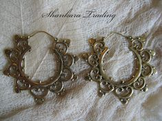 Tribal Brass Earrings, Indian Mandala Hoops, Belly Dance Jewelry, Tribal Fusion