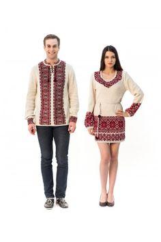 Сімейний комплект «Слобода» складається з жіночої в'язаної туніки та чоловічої в'язаної вишиванки, з червоним орнаментом. Prepping, Style, Fashion, Tunic, Swag, Moda, Fashion Styles, Fashion Illustrations, Outfits