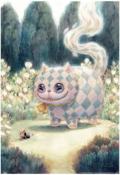 Kei Acedera conceptual artist for Tim Burton's Alice in Wonderland. Cheshire cat and little Alice print I just bought! Art Et Illustration, Illustrations, Halloween Illustration, Chesire Cat, Cheshire Cat Art, Alice Madness, Arte Obscura, Arte Sketchbook, Adventures In Wonderland