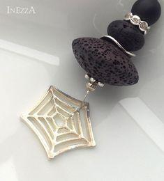 Lange LavaRondell Kette mit Spinnennetz schwarz von INEZZA  -  Geschenkestübchen auf DaWanda.com
