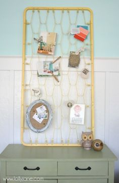 DIY Vintage Mattress Bulletin Board With Clips | Shelterness