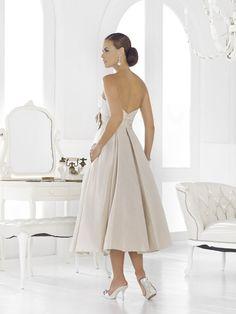 Pearl Bridal Dress   www.ForTheBrideMag.com Elope Wedding, Bridal Wedding Dresses, Wedding Attire, Bridal Style, Dream Wedding, Older Bride, Tea Length Wedding Dress, Pleated Bodice, Dress P