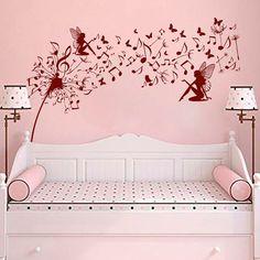 Music Wall Decals Dandelion Flower Decal Vinyl Fairy Sticker Butterfly Art  Baby Children Nursery Bedroom  Home Decor MN1011