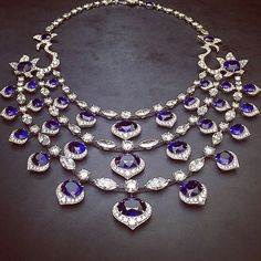 """@davidmorrisjeweller Natural """"Royal blue"""" #sapphire necklace with white #diamond marquise and brilliant cuts"""