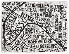 Typographic Linocut Map of Paris Arrondissements by Abigail Daker. $20.00, via Etsy.