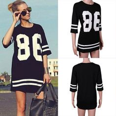 Cool Womens Celeb Oversized 86 American Baseball Tee T-shirt Top Varsity Loose #Other