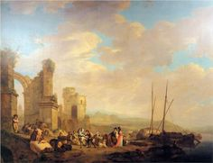 Landscape with coast and ruin  - Jacob van Strij