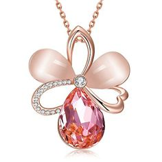 Austrian Crystal 18K Rose Gold Necklace with Teardrop Cats-eye and Pink Crystal Pendant for Girls Women by BOUTIQUELOVIN -- Awesome products selected by Anna Churchill
