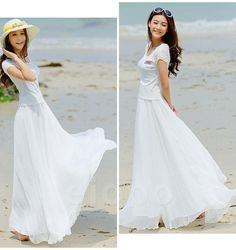 White Long Chiffon Skirt Maxi Skirt Ladies Silk Chiffon Dress Plus Sizes Sundress Beach Skirt