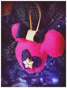 Handmade Felt Mickey and Minnie Mouse Ornaments