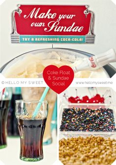 Retro 50s Diner Style Coke Float and Ice-Cream Sundae Social birthday party from @Christina Childress Childress & Kahler My Sweet | www.hellomysweet.me