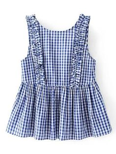 ROMWE - ROMWE Frill Trim Gingham Sleeveless Top - AdoreWe.com