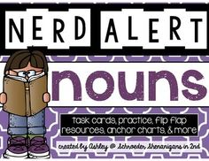 This product is part of my brand new NERD ALERT product series! This set is all about NOUNS!  Check out my other products in this series:  NERD ALERT: VERBS  You can also check out my NERD ALERT BUNDLE #1 at a discounted price here: NERD ALERT: BUNDLE #1    Types of nouns included are: nouns singular nouns plural nouns irregular nouns common nouns proper nouns pronouns  The set includes:  -Anchor charts for nouns, singular nouns, plural nouns, irregular nouns, common nouns, proper nouns, ...