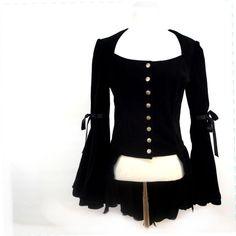 Black Velvet Edwardian Jacket Top  Gorgeous Goth by imaginarygirl