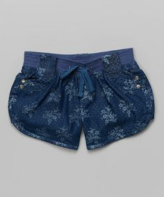 Another great find on #zulily! Blue Floral Denim Shorts by Chillipop #zulilyfinds