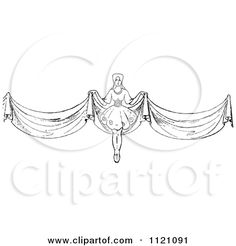 Clipart Of A Retro Vintage Black And White Woman With Long Curtains - Royalty Free Vector Illustration by Prawny Vintage