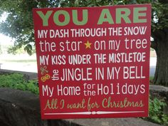 VYou Are My Christmas Wood Sign Typography Subway by DAWNSPAINTING, $21.95