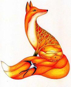 Summer Solstice Folk Art Fox - Christina Plumb Art